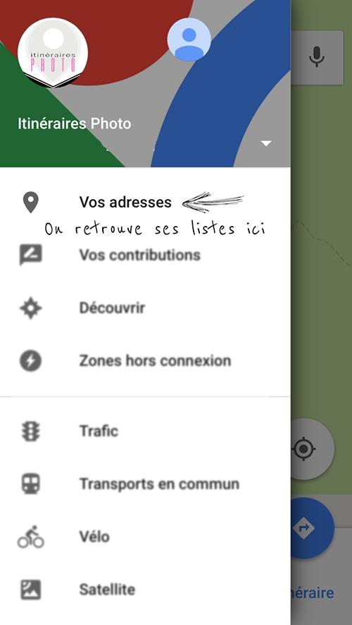 Créer une liste de spots photo dans Google maps