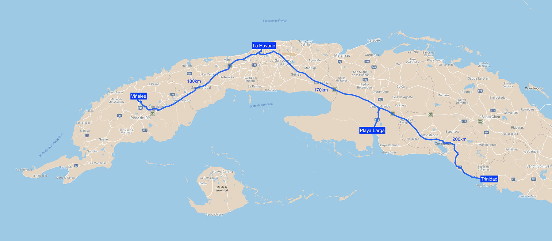 Carte road trip Cuba