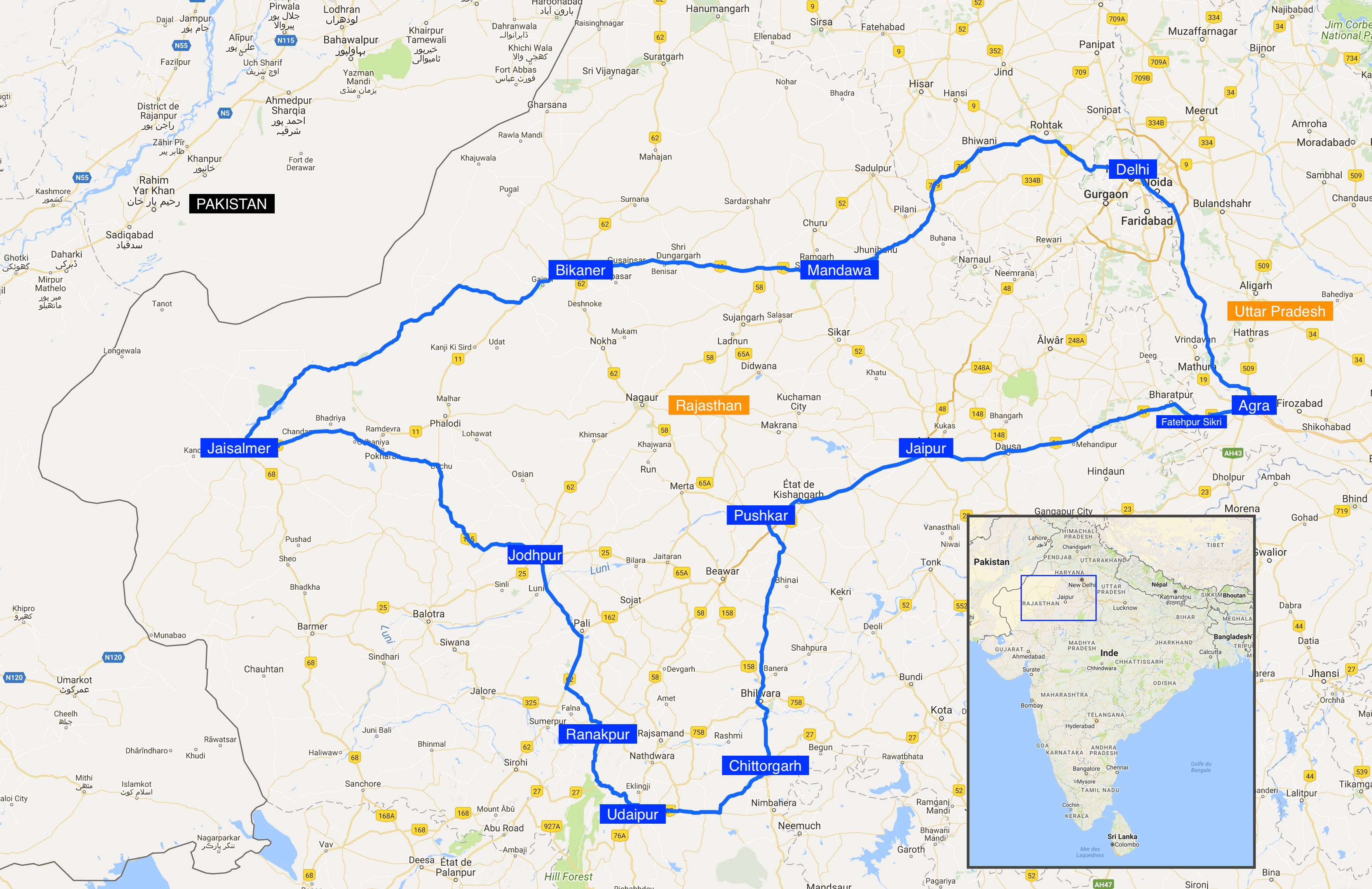 carte road trip Rajasthan