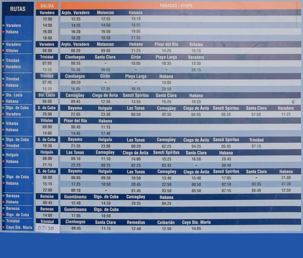 horaires bus cuba