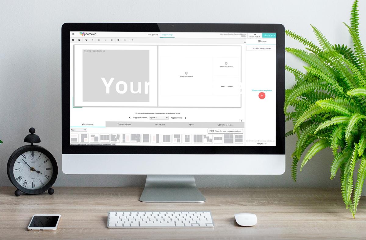 Interface création livre photo